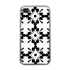 Floral Illustration Black And White Apple Iphone 4 Case (clear)