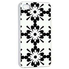 Floral Illustration Black And White Apple Iphone 4/4s Seamless Case (white)