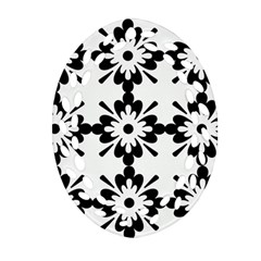 Floral Illustration Black And White Oval Filigree Ornament (two Sides)