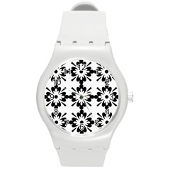 Floral Illustration Black And White Round Plastic Sport Watch (m)