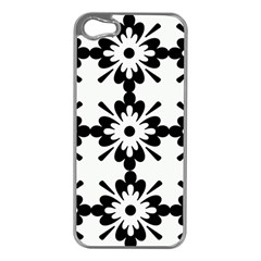 Floral Illustration Black And White Apple Iphone 5 Case (silver)