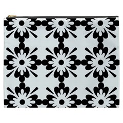 Floral Illustration Black And White Cosmetic Bag (xxxl)