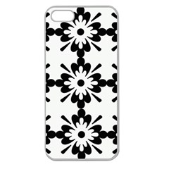 Floral Illustration Black And White Apple Seamless Iphone 5 Case (clear)