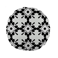 Floral Illustration Black And White Standard 15  Premium Round Cushions