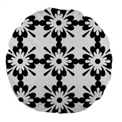 Floral Illustration Black And White Large 18  Premium Round Cushions