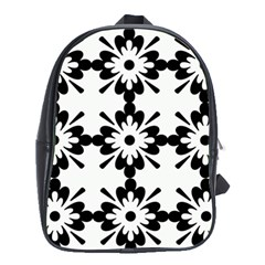 Floral Illustration Black And White School Bags (xl)