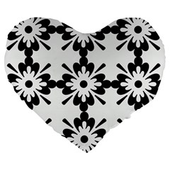 Floral Illustration Black And White Large 19  Premium Heart Shape Cushions