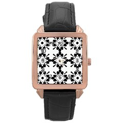 Floral Illustration Black And White Rose Gold Leather Watch