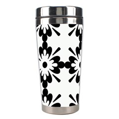 Floral Illustration Black And White Stainless Steel Travel Tumblers