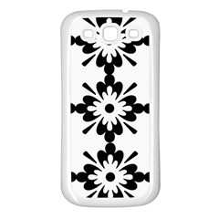 Floral Illustration Black And White Samsung Galaxy S3 Back Case (white)
