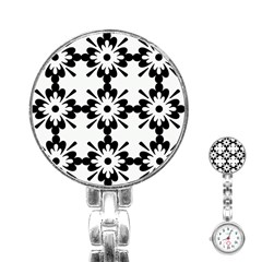 Floral Illustration Black And White Stainless Steel Nurses Watch