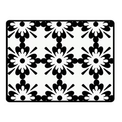 Floral Illustration Black And White Double Sided Fleece Blanket (small)