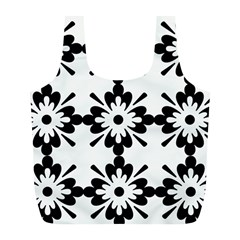 Floral Illustration Black And White Full Print Recycle Bags (l)