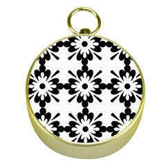 Floral Illustration Black And White Gold Compasses