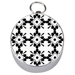 Floral Illustration Black And White Silver Compasses