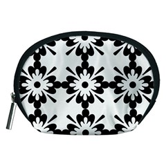 Floral Illustration Black And White Accessory Pouches (medium)
