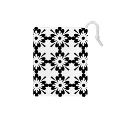 Floral Illustration Black And White Drawstring Pouches (small)