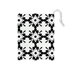 Floral Illustration Black And White Drawstring Pouches (medium)