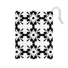 Floral Illustration Black And White Drawstring Pouches (large)