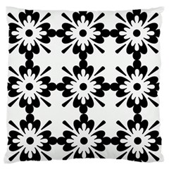 Floral Illustration Black And White Large Flano Cushion Case (one Side)