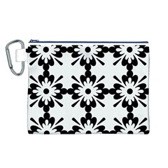 Floral Illustration Black And White Canvas Cosmetic Bag (l)