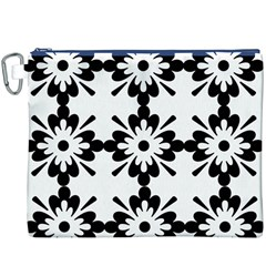 Floral Illustration Black And White Canvas Cosmetic Bag (xxxl)