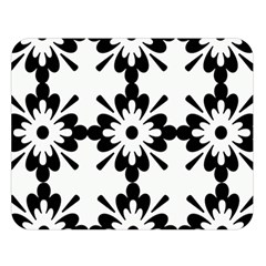 Floral Illustration Black And White Double Sided Flano Blanket (large)