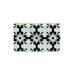 Floral Illustration Black And White Cosmetic Bag (xs)