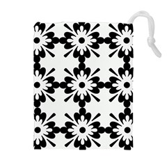 Floral Illustration Black And White Drawstring Pouches (extra Large)