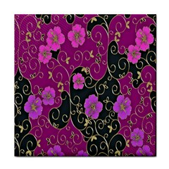 Floral Pattern Background Tile Coasters