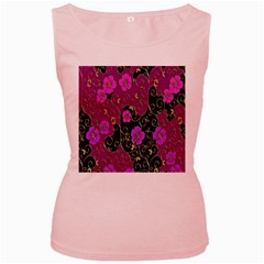Floral Pattern Background Women s Pink Tank Top