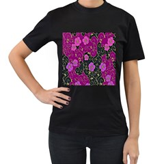 Floral Pattern Background Women s T Shirt (black)