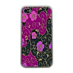 Floral Pattern Background Apple Iphone 4 Case (clear)