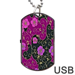 Floral Pattern Background Dog Tag Usb Flash (two Sides)