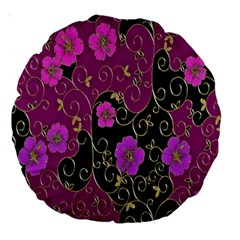 Floral Pattern Background Large 18  Premium Round Cushions