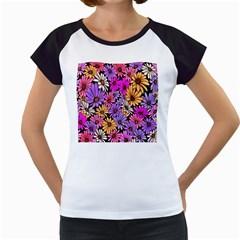 Floral Pattern Women s Cap Sleeve T