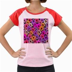 Floral Pattern Women s Cap Sleeve T Shirt
