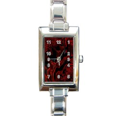 Fractal Red Black Glossy Pattern Decorative Rectangle Italian Charm Watch
