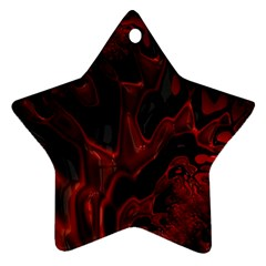 Fractal Red Black Glossy Pattern Decorative Ornament (star)
