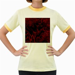 Fractal Red Black Glossy Pattern Decorative Women s Fitted Ringer T-Shirts