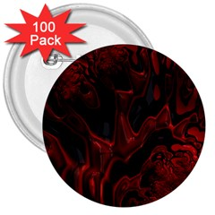 Fractal Red Black Glossy Pattern Decorative 3  Buttons (100 Pack)