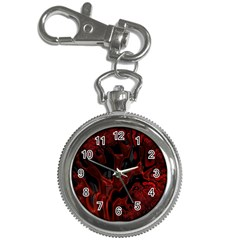 Fractal Red Black Glossy Pattern Decorative Key Chain Watches