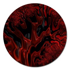 Fractal Red Black Glossy Pattern Decorative Magnet 5  (round)