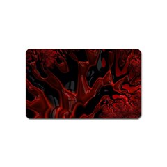 Fractal Red Black Glossy Pattern Decorative Magnet (name Card)