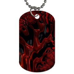 Fractal Red Black Glossy Pattern Decorative Dog Tag (one Side)
