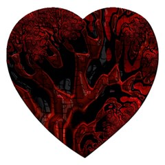 Fractal Red Black Glossy Pattern Decorative Jigsaw Puzzle (heart)