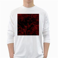 Fractal Red Black Glossy Pattern Decorative White Long Sleeve T Shirts