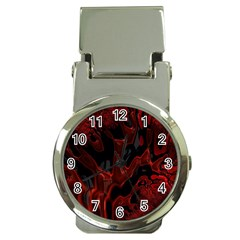 Fractal Red Black Glossy Pattern Decorative Money Clip Watches