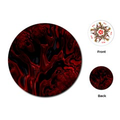 Fractal Red Black Glossy Pattern Decorative Playing Cards (round)