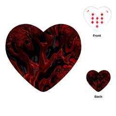 Fractal Red Black Glossy Pattern Decorative Playing Cards (heart)